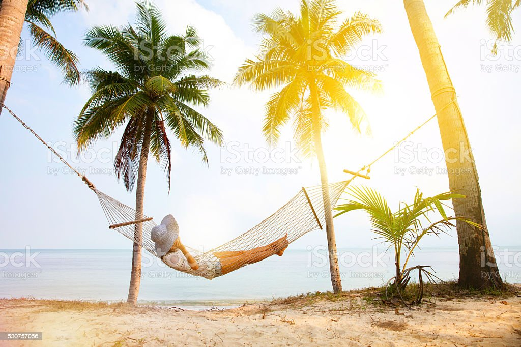 Beach Hammock stock photo