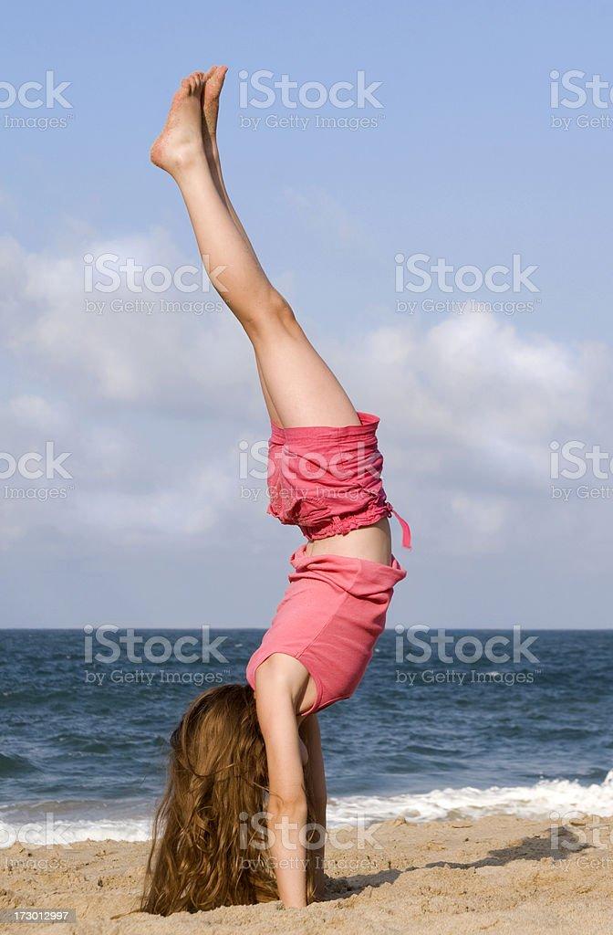 Beach Handstand stock photo