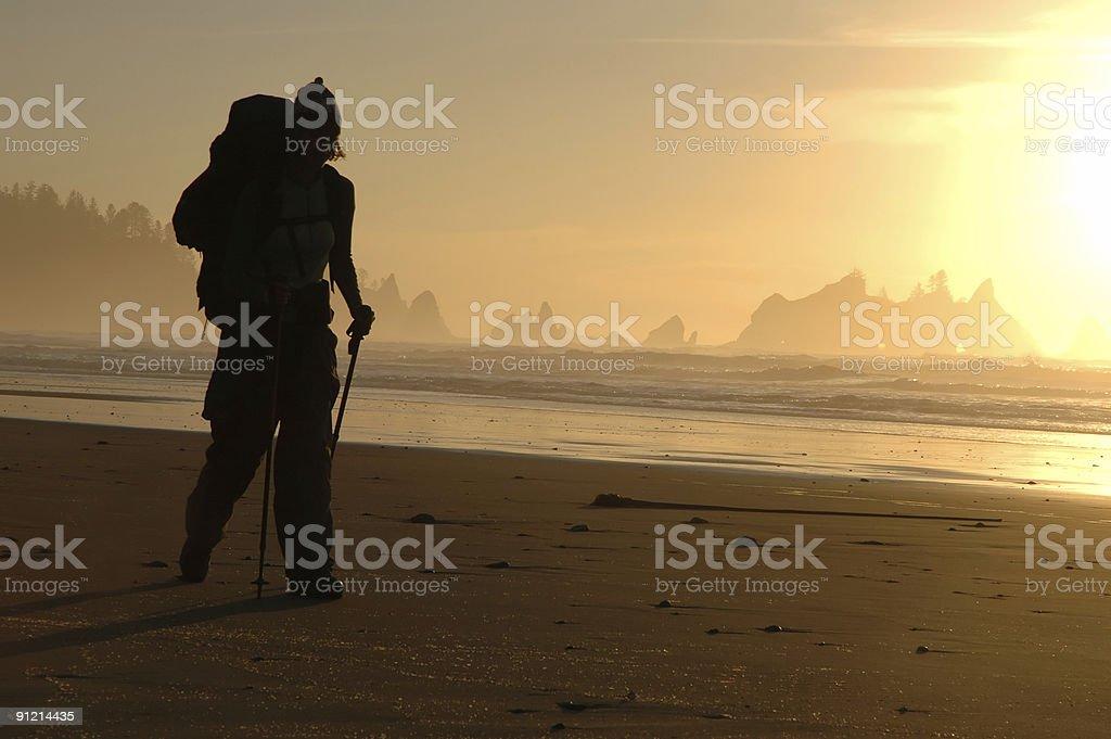 Beach hiking silhouette stock photo