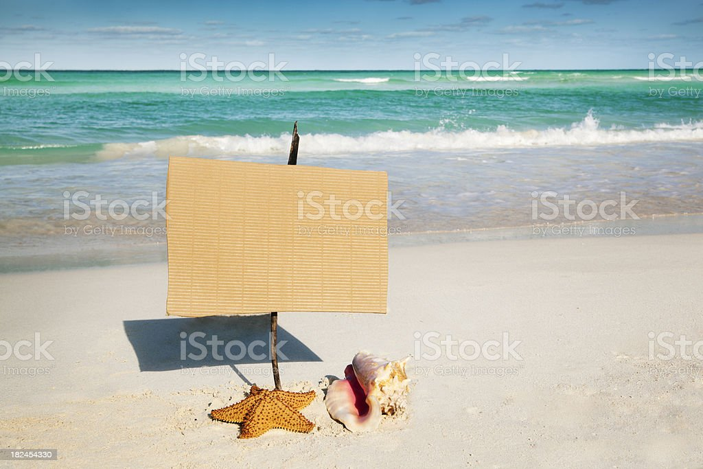 Beach Holiday Vacation with Blank Sign royalty-free stock photo
