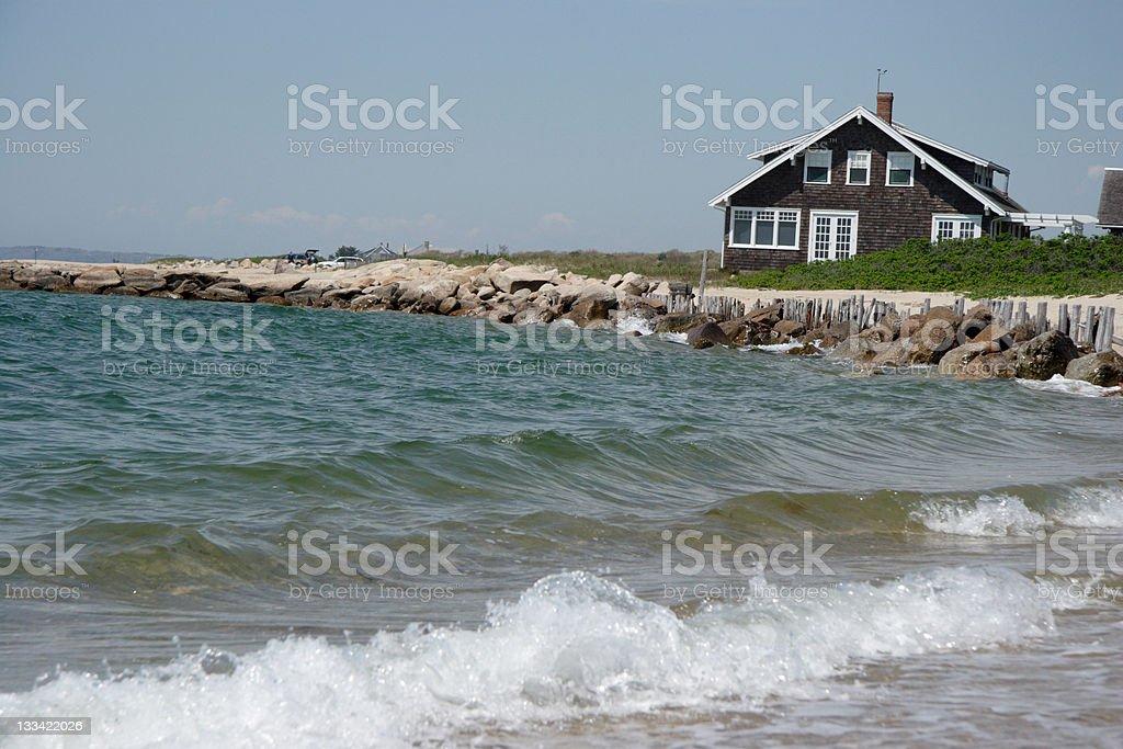 Beach home stock photo