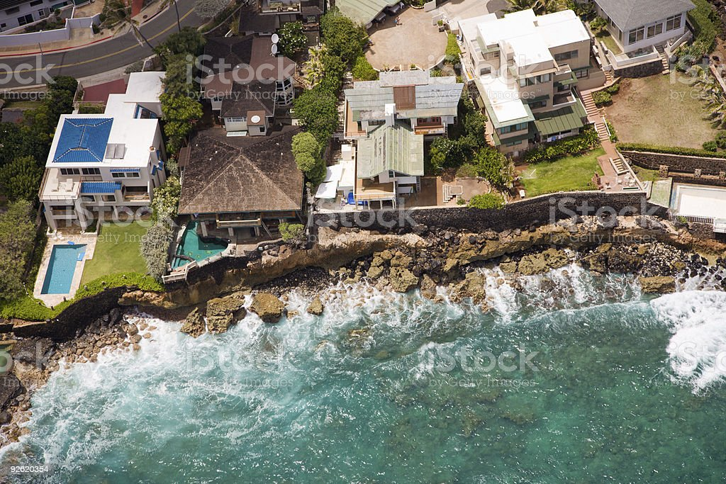 Beach homes from the air royalty-free stock photo