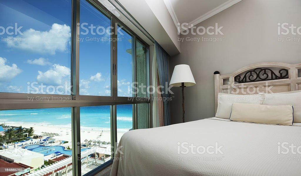 Beach Hotel Room with Scenic Caribbean Sea View through Window stock photo