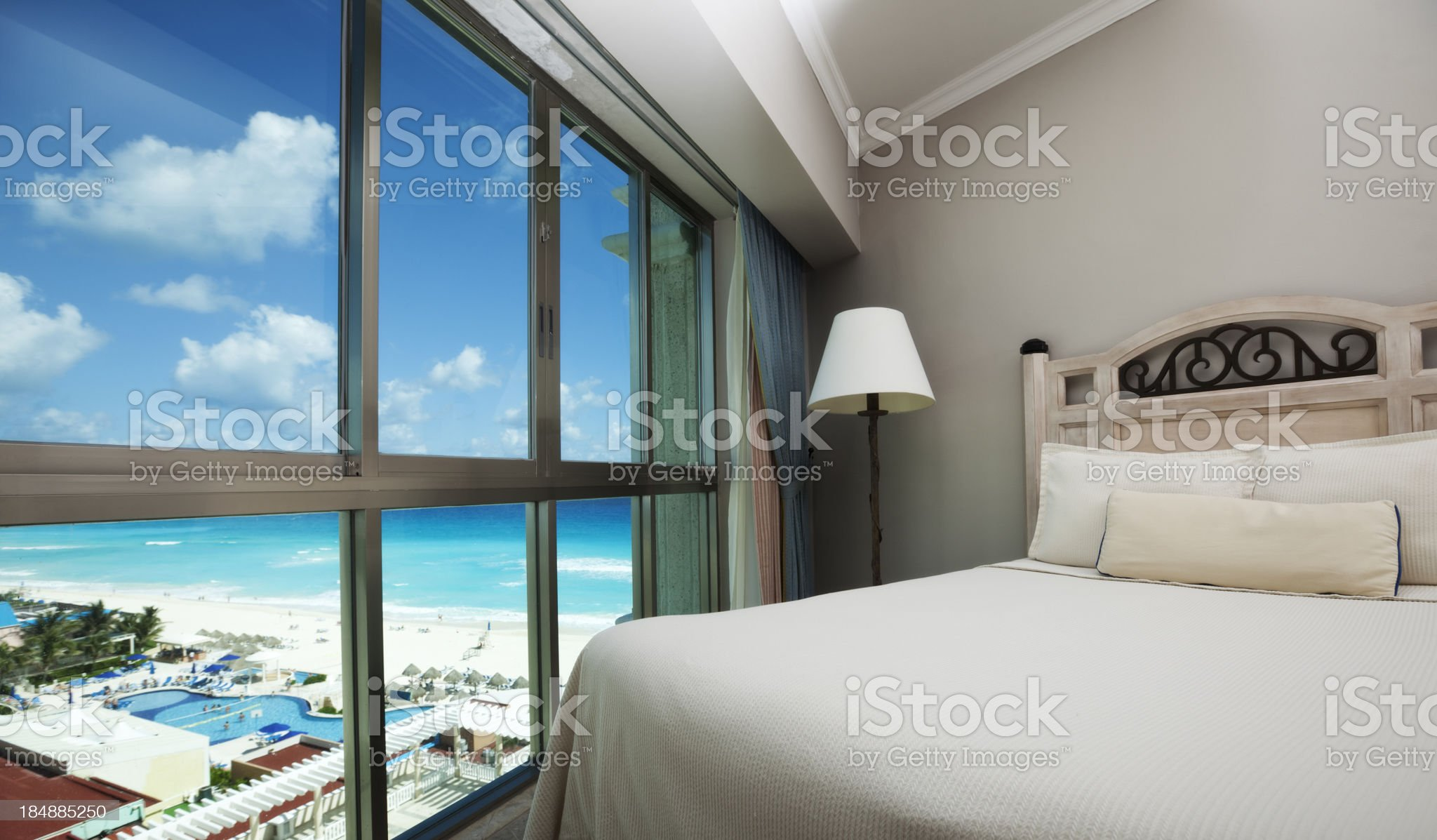 Beach Hotel Room with Scenic Caribbean Sea View through Window royalty-free stock photo