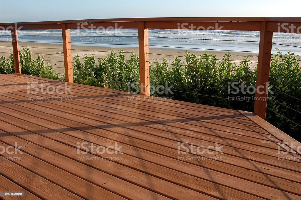 Beach house deck stock photo
