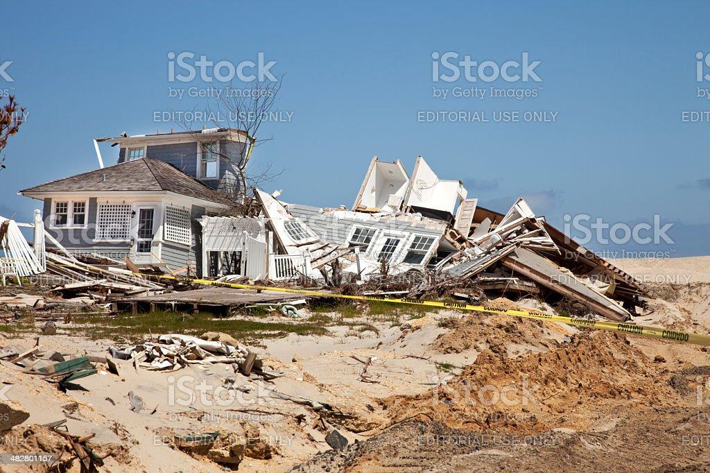 Beach House Destroyed stock photo