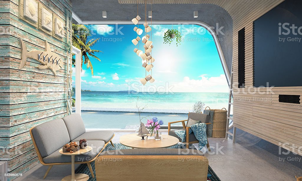 Beach house on sea view 3d rendering stock photo