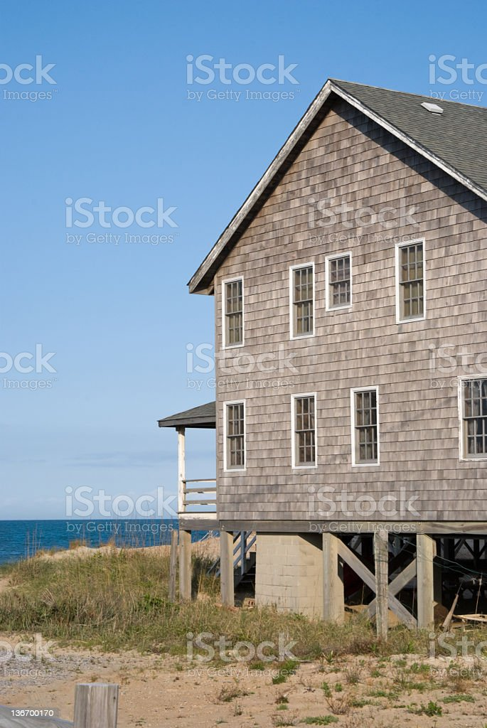 Beach House Overlooking the Ocean royalty-free stock photo