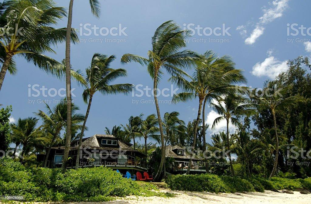 Beach house paradise stock photo