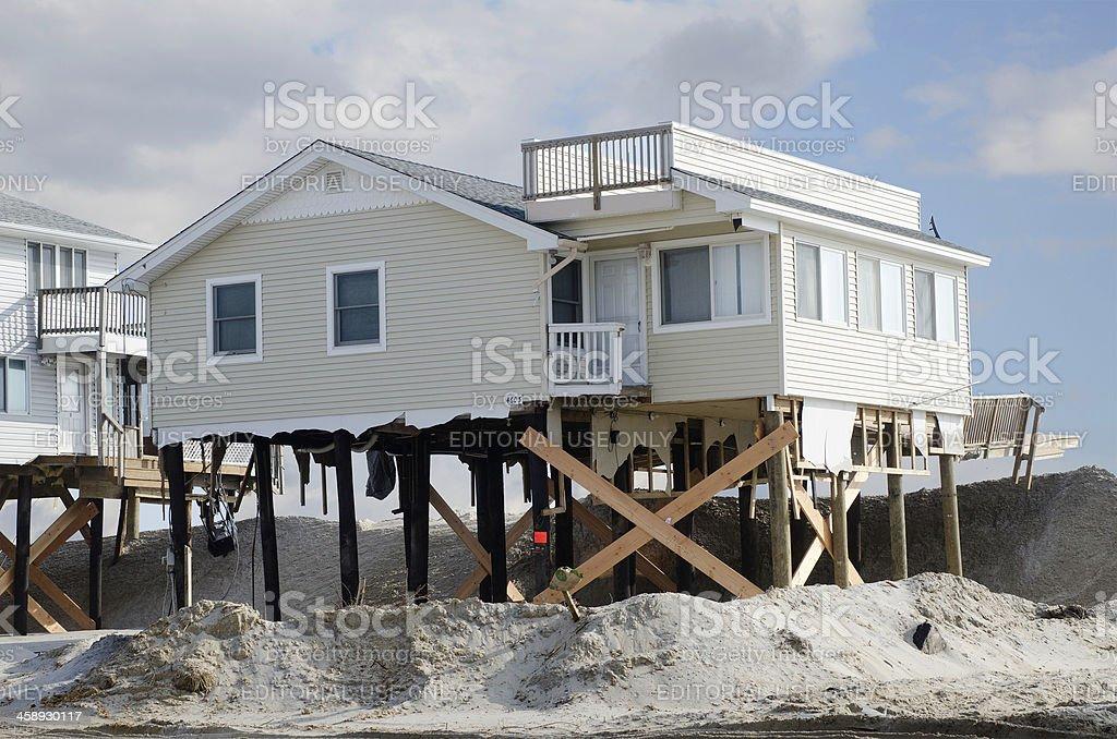 Beach House Ravaged by Hurricane Sandy stock photo