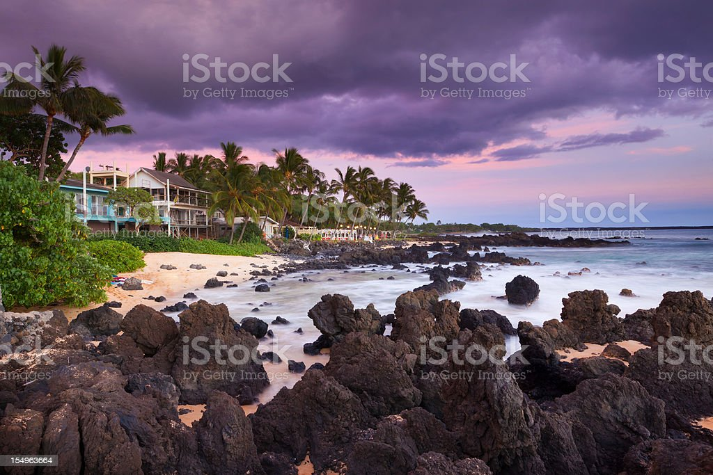 beach house with idylic maui coastline - hawaii royalty-free stock photo
