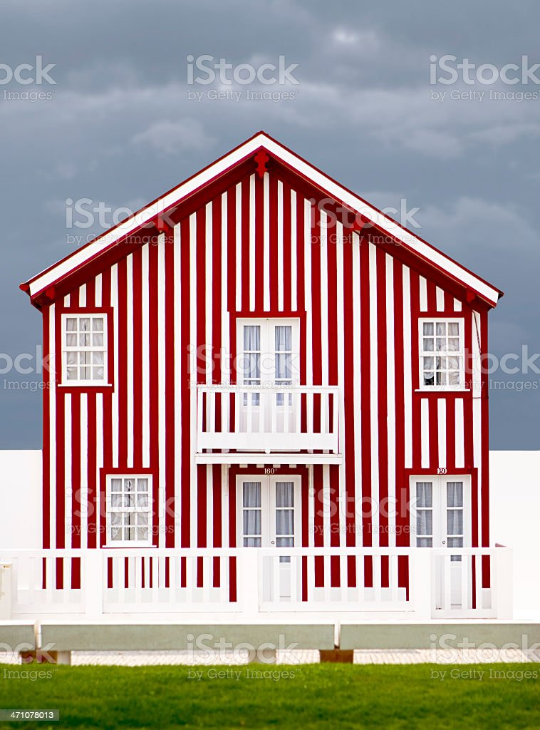Beach house with stripes royalty-free stock photo
