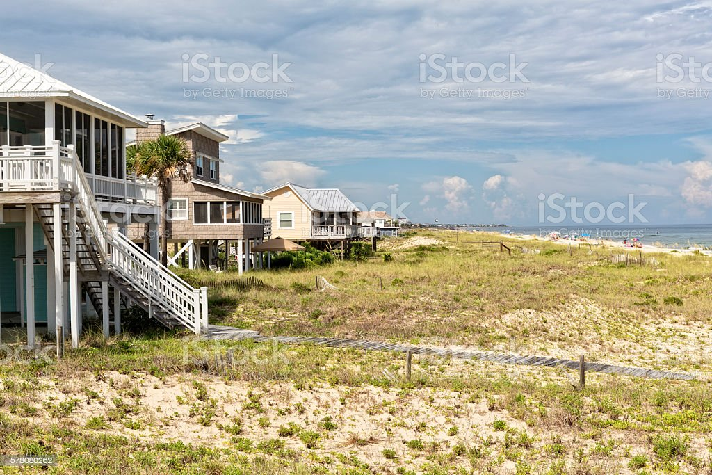 Beach Houses on St. George Island in Florida stock photo