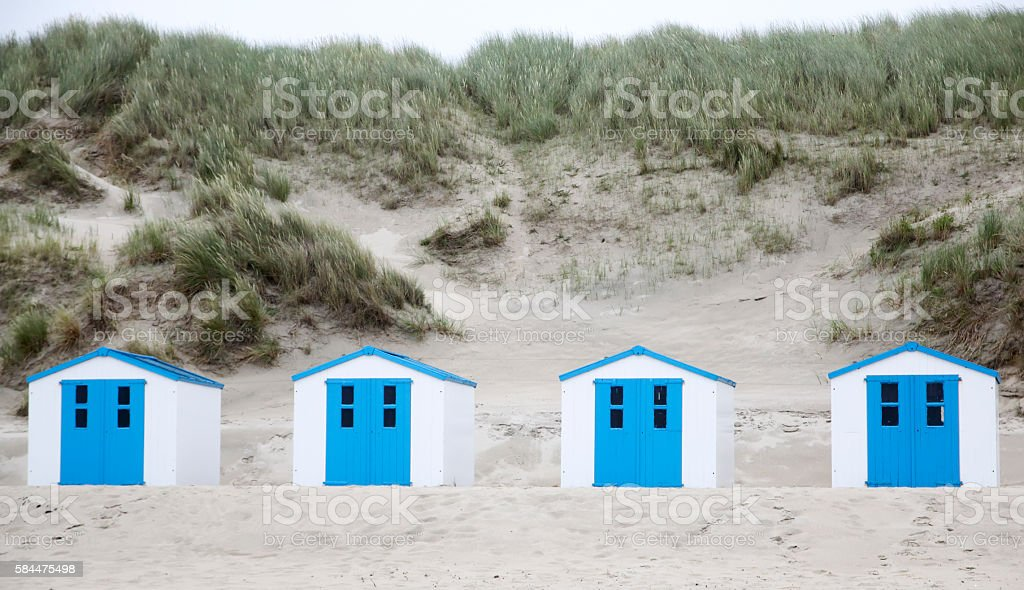 Beach Houses on the Isle of Texel (the Netherlands) stock photo