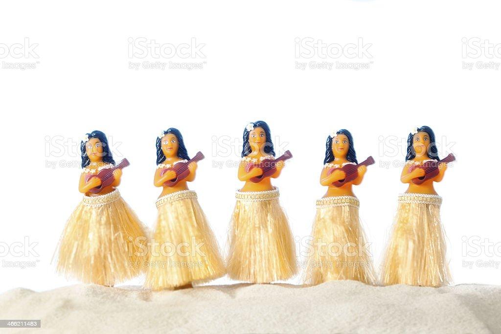 Beach Hula Dancers on White Background stock photo