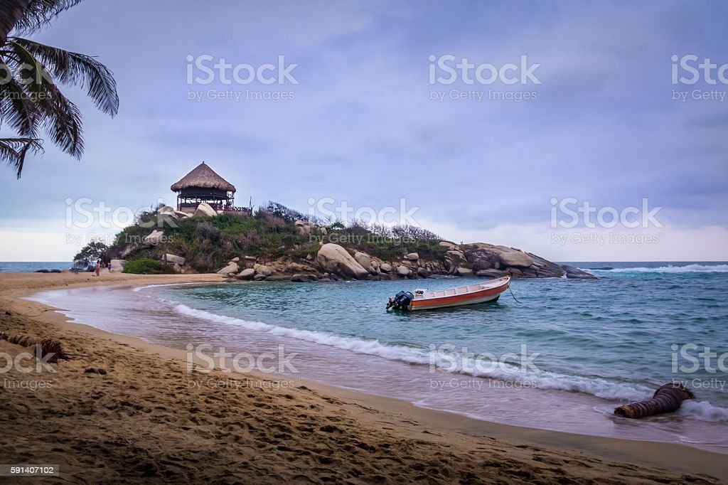 Beach hut at Cabo San Juan - Tayrona Park, Colombia stock photo