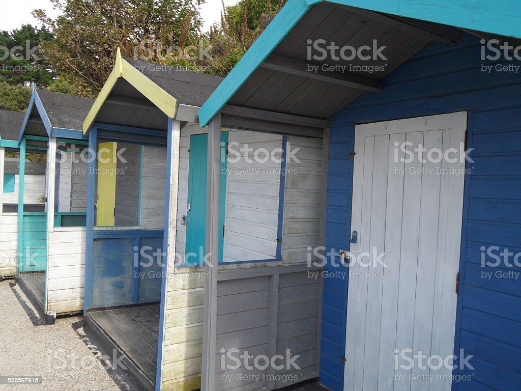 beach hut on a beach near Falmouth in Cornwall stock photo