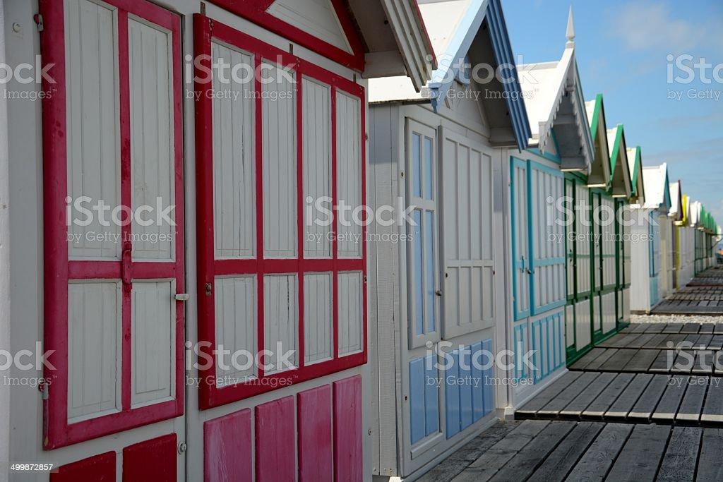 Beach hut on a raw stock photo