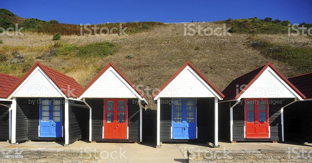 Beach hut parade stock photo