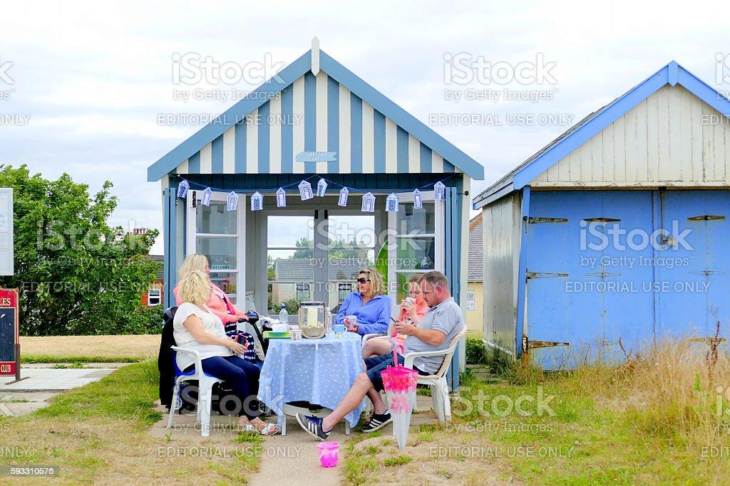 Beach hut tea party. stock photo