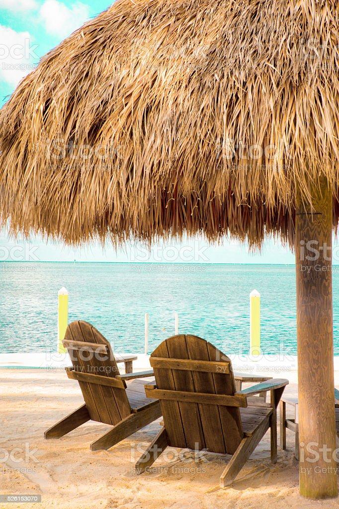 Beach Hut Tropical stock photo