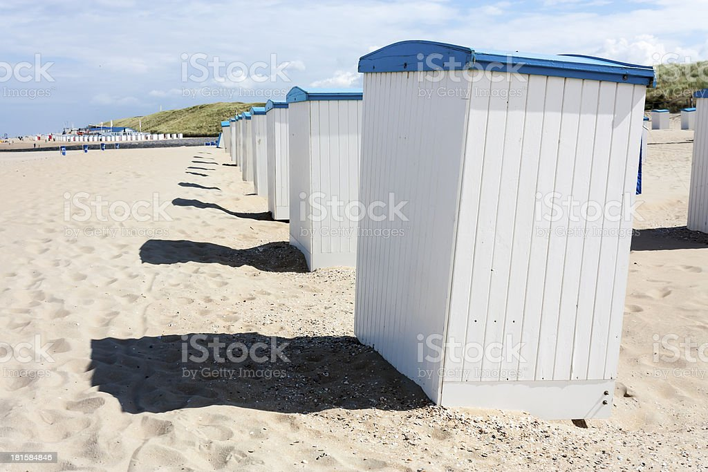 Beach huts along North Sea in the Netherlands royalty-free stock photo
