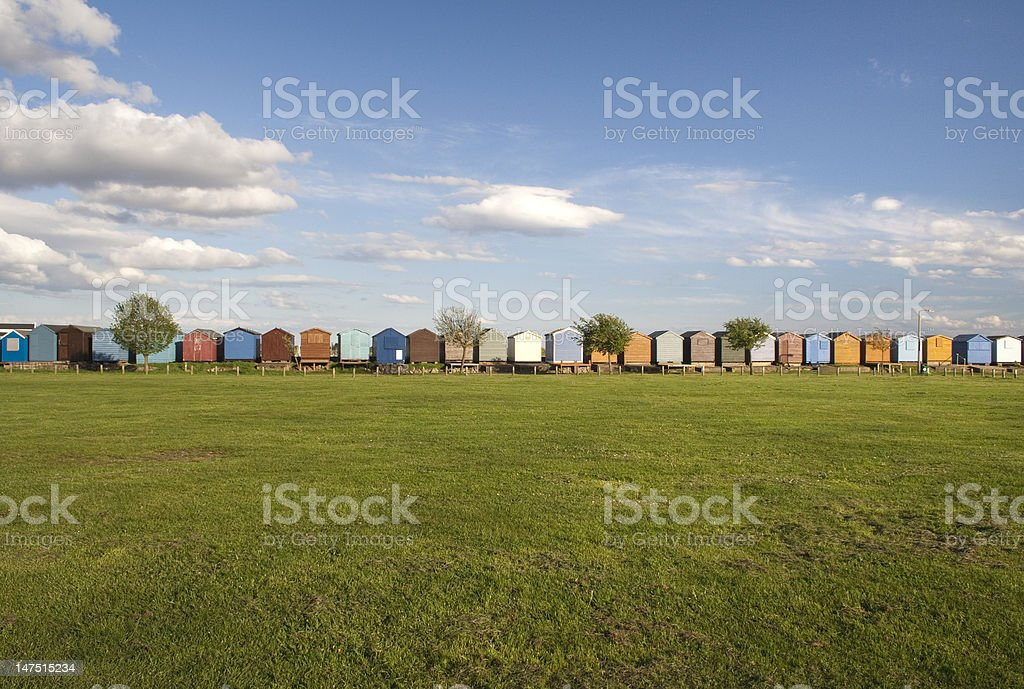 Beach Huts at Brightlingsea, Essex, England stock photo