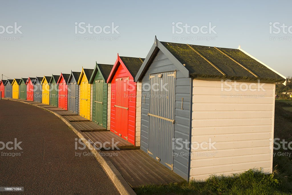 Beach huts at Dawlish Warren in Devon stock photo