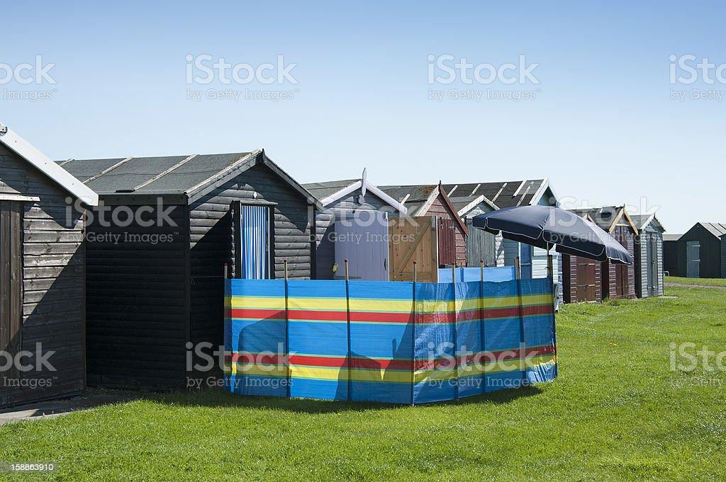 Beach Huts at Dovercourt, Essex UK royalty-free stock photo