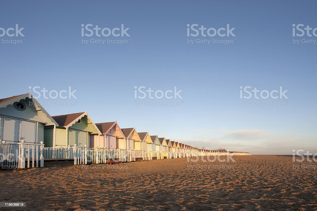 Beach huts at mersea, essex stock photo