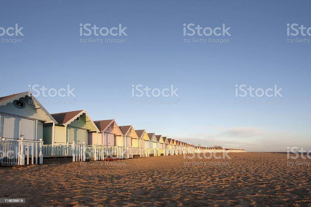 Beach huts at mersea, essex stock photo