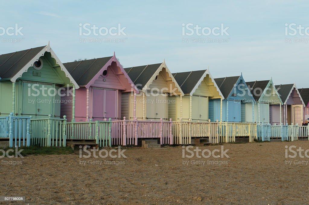 Beach Huts at Mersea Island stock photo