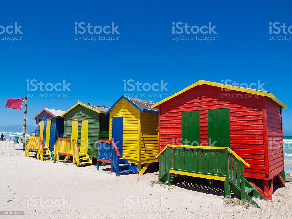Beach huts at Muizenburg, Capetown stock photo