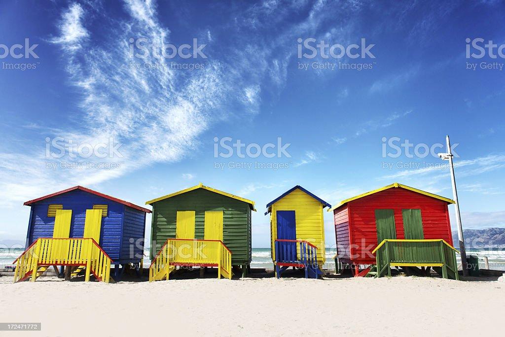 Beach huts at Muizenburg royalty-free stock photo