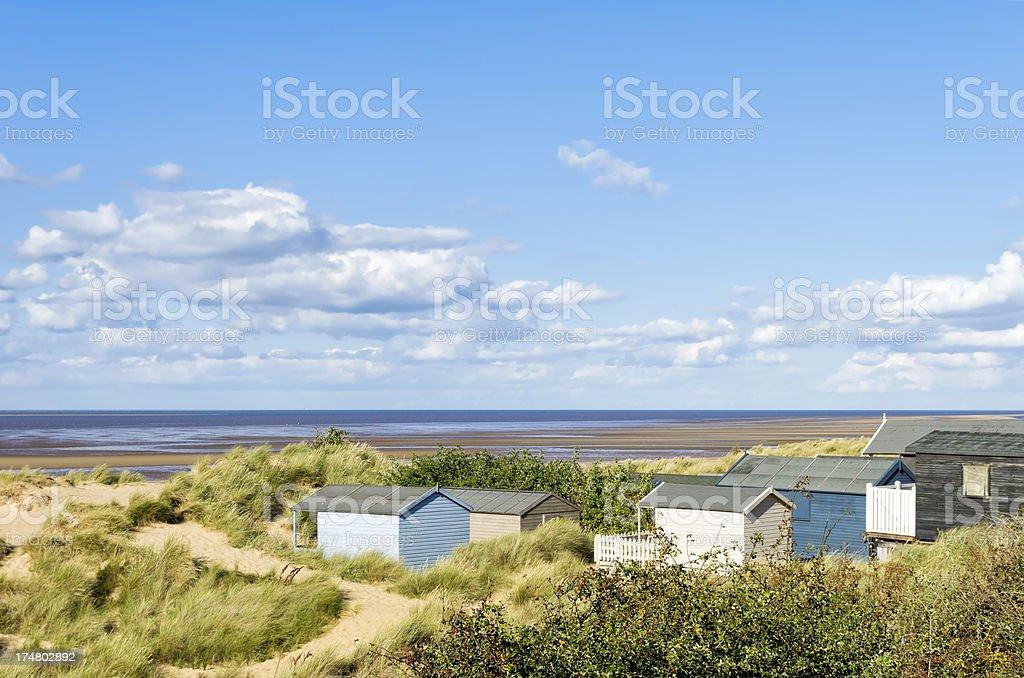 Beach huts at Old Hunstanton royalty-free stock photo