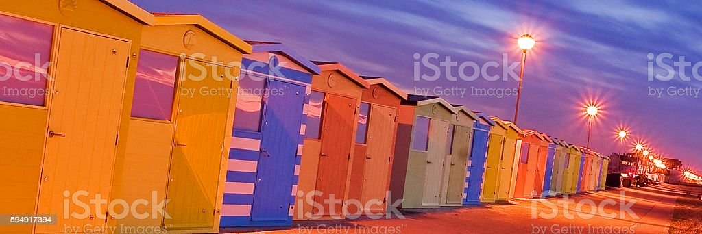 Beach Huts at Seaford stock photo