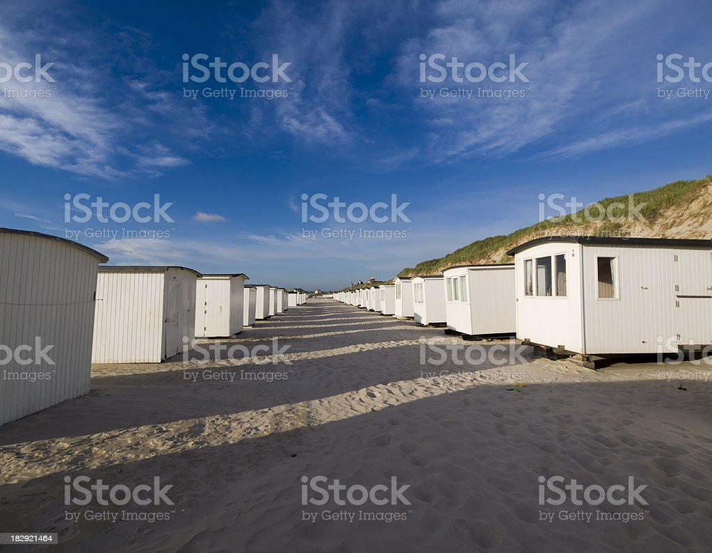 Beach huts at the Danish west coast royalty-free stock photo