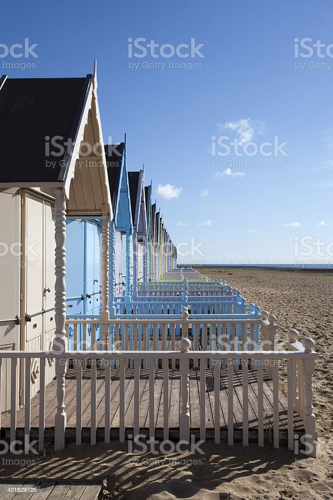 Beach Huts at West Mersea, Essex, England stock photo