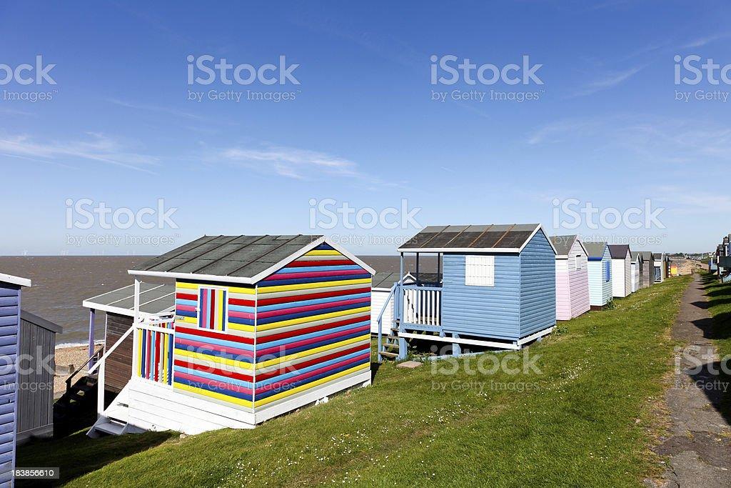 Beach huts at Whitstable, Kent, UK stock photo