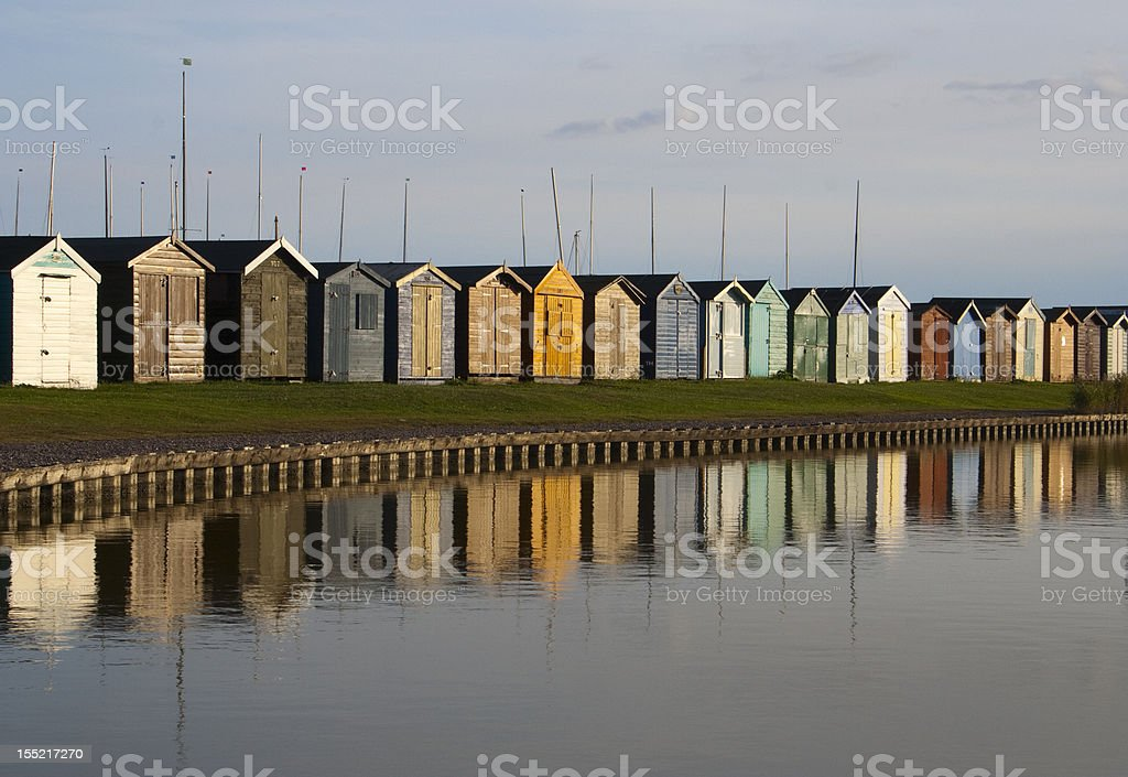 Beach Huts, Brightlingsea, Essex,  England stock photo