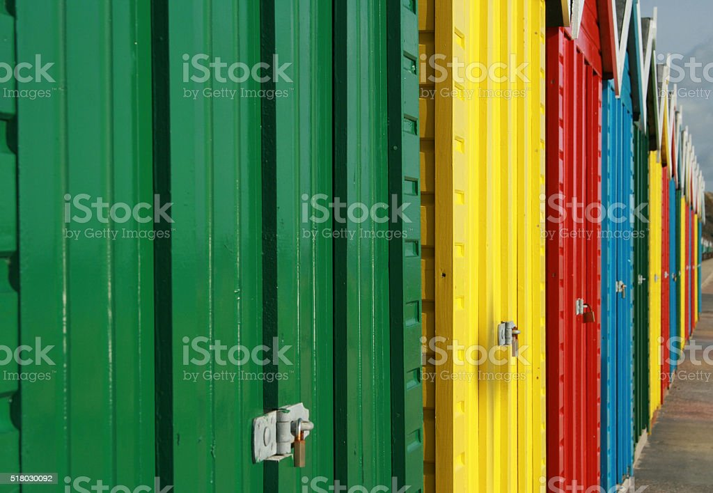 Beach Huts Close Up stock photo