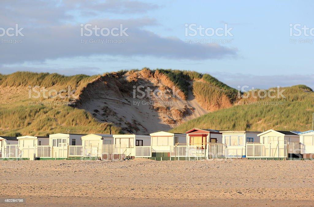 Beach huts. Egmond aan Zee, North Sea, the Netherlands. stock photo