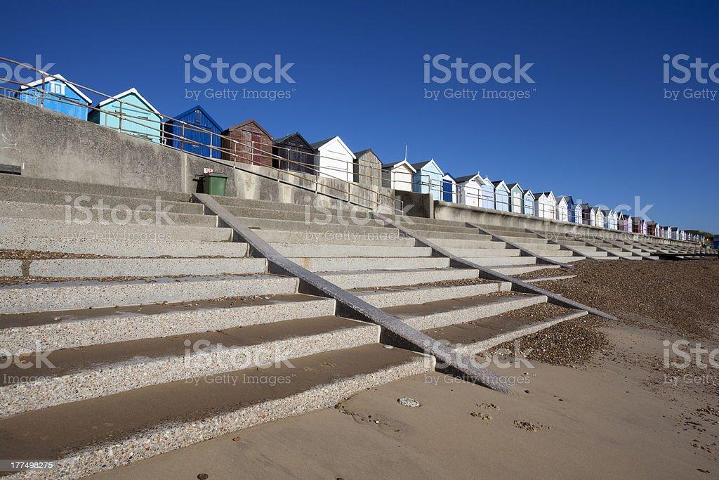Beach Huts, Felixstowe, Suffolk, England stock photo