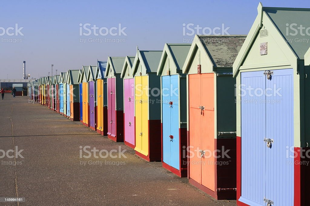 Beach Huts, Hove, East Sussex, England stock photo