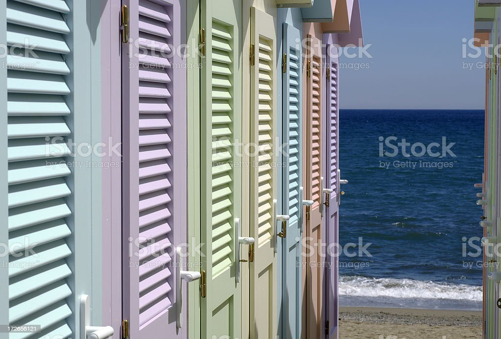 Beach huts II stock photo