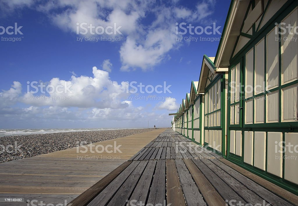 Beach huts in Cayeux sur mer stock photo