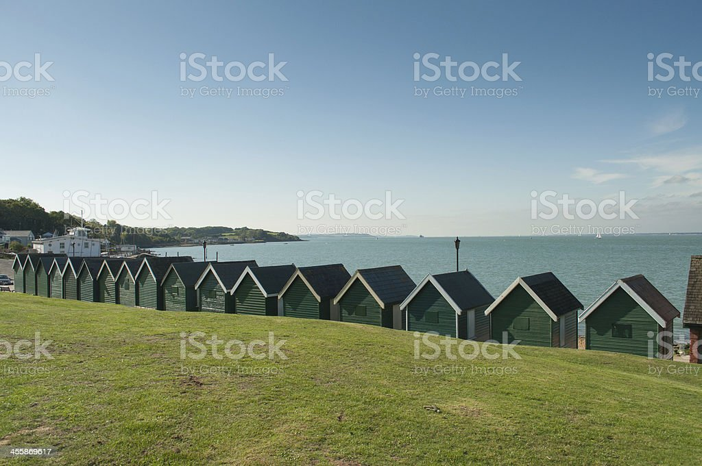 Beach Huts in Cowes England stock photo