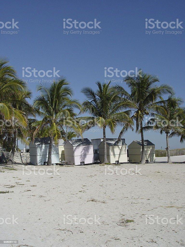 Beach huts in Florida sunshine stock photo
