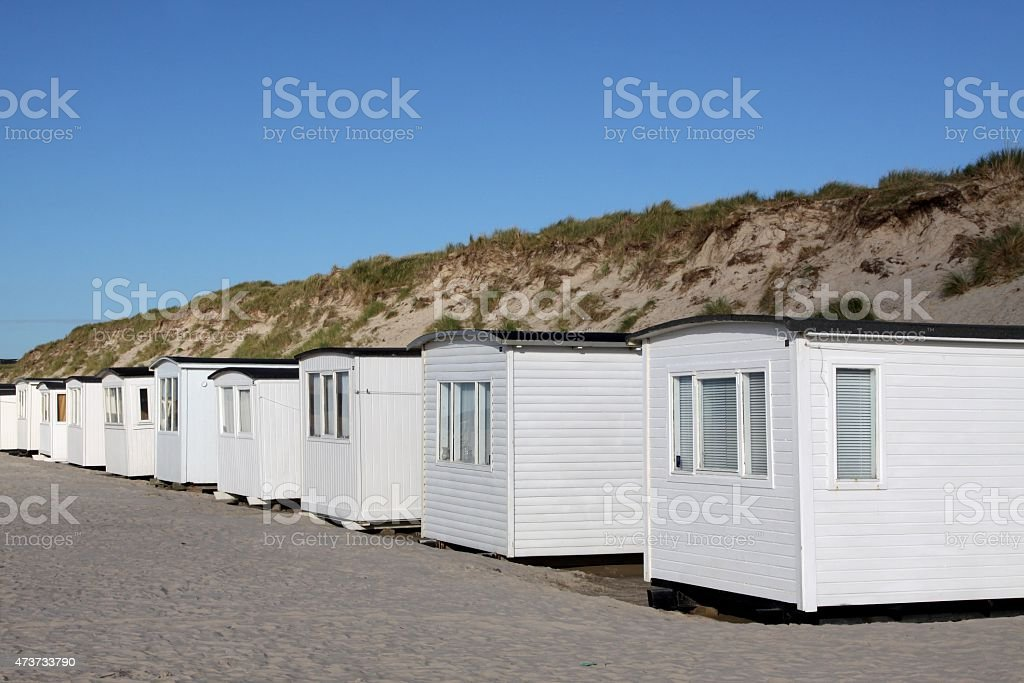 Beach huts in L?kken, Denmark stock photo
