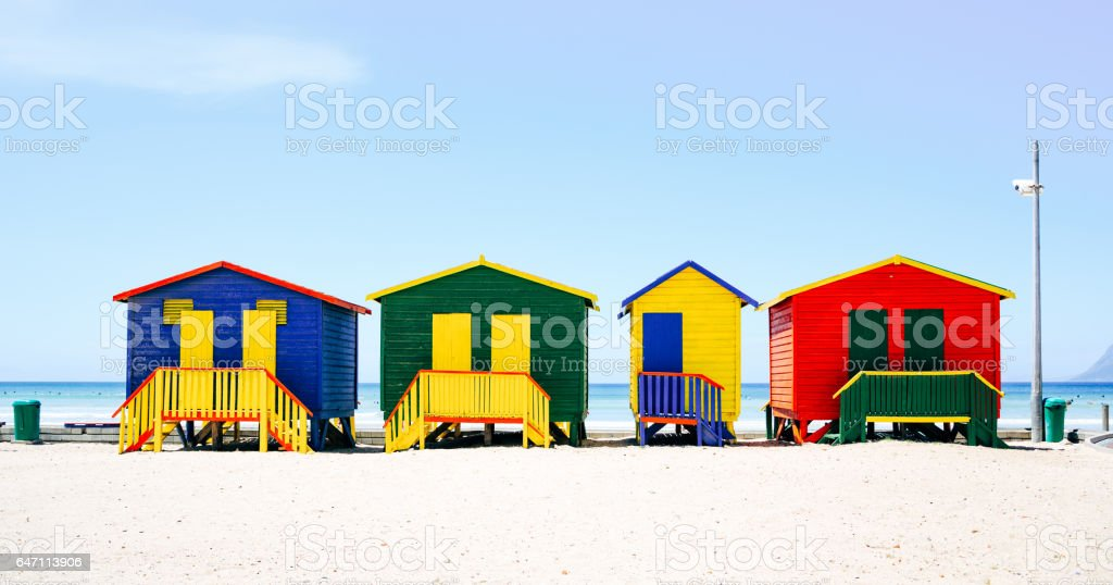 Beach huts in Muizenberg, South Africa stock photo